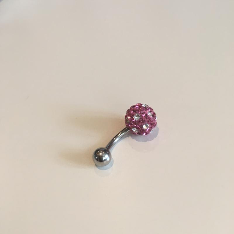 Navelsmycke – Rosaboll med diamanter