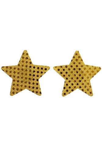 Guld paljettererade Stjärnor  Klister Bröst dekor