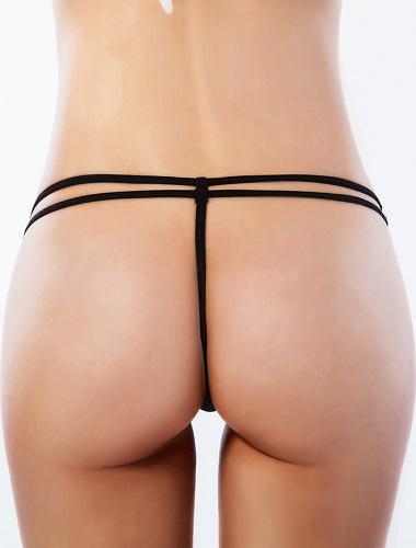 Erotisk svart stringttrosa med strass på sidorna 3XL
