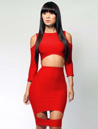Sexig röd  Figurnära klänning