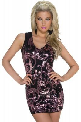 Rosa skimrande blommig Mini klänning