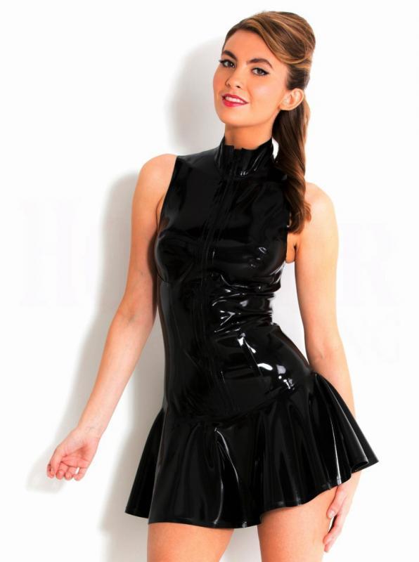 Svart Latexklänning med dragkedja 2XL