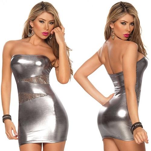 Sexig Silverfärgad  Klänning i wet-look