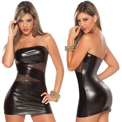 Sexig Svart Läder look klänning