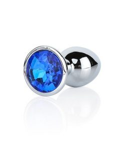 Analplugg med mörkblå juvel