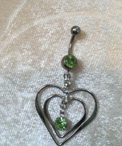 Navelsmycke hänge - Hjärta i hjärta med vita och gröna stenar