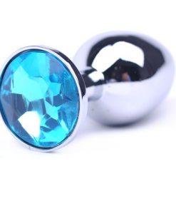 Liten Analplugg med Ljusblå juvel