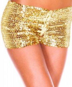 Guldfärgade paljett shorts
