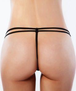 Erotisk svart stringtrosa med strass på sidorna