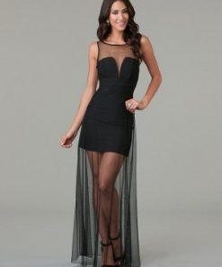 Sexig elegant svart miniklänning med chiffongkjol XL