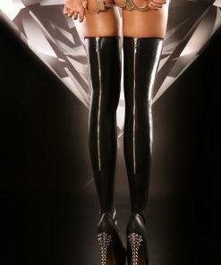 Eleganta svarta wetlook stockings