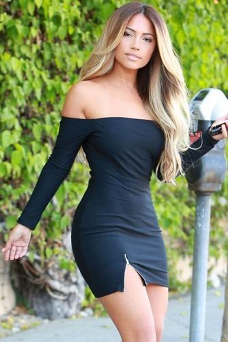 Svart Sexig axelbandslös miniklänning