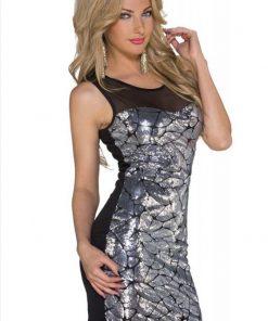 Paljettmönstrad tunika klubb klänning med nätbeklädd rygg