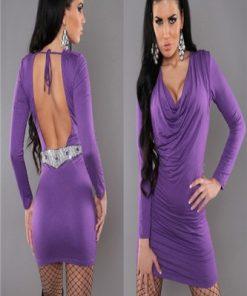 Djup urringad Sexig Lila klänning