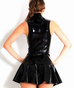 Svart Latexklänning med dragkedja XL